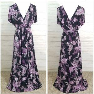 Soma Nightgown Long Lounge Dress purple black sz S